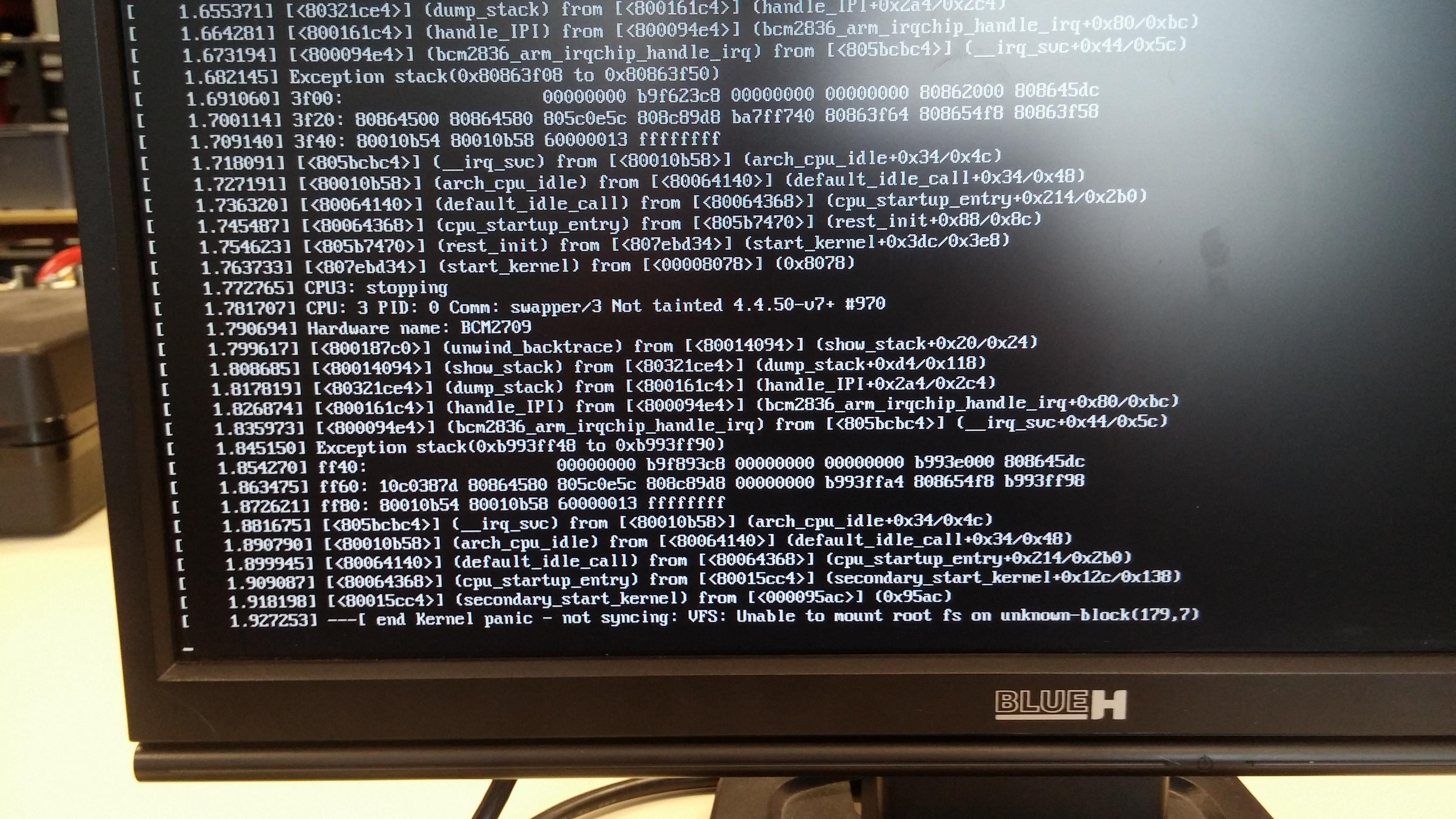 Problème au lancement de la raspberry :